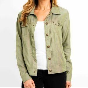 XXL TAHARI Tencel Pinktuck Olive Jacket 2X Plus